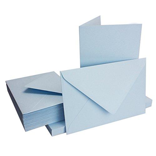 DIN B6 Faltkarten Set mit Umschlägen | Hellblau | 50 Sets | 11,5 x 17,0 cm | ideal für Einladungskarten, Hochzeit, Taufe, Kommunion, Konfirmation | formstabil | Marke: FarbenFroh® - Faltkarte