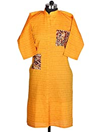 Khadi Ghar Yellow Three Fourth Sleeve Banded Collar Straight Regular Fit Casual Traditional Wear Khadi Kurti For...