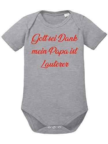 clothinx Gott Sei Dank, Mein Papa ist Lauterer, Lustiges Fussballmotiv Baby Body Bio Sports Grey Gr. 68