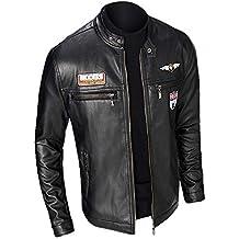 a01e80991 MEIbax Casual Chaqueta de la Motocicleta Biker de Cremallera para Hombre de  Manga Larga Moda Slim