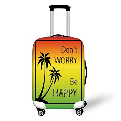 Travel Luggage Cover Suitcase Protector,Rasta,Dont Worry Be Happy Music Quote of Iconic Singer Palms Ombre Colors Decorative,Lime Green Yellow Black,for Travels 19x27.5Inch Lime Green Music Box