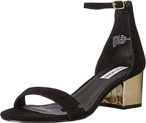 Steve Madden Women's Irenee-G Dress Sandal, Black Suede/Gold, 6 M US -