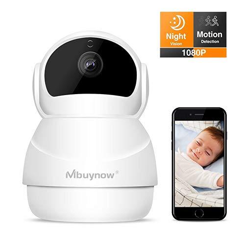 Überwachungskamera mit bewegungserkennung, 1080p WLAN IP Kamera, Überwachungskamera mit Nachtsicht, Bewegungserkennung, Auto-Rotation, 2 Wege Audio, Haus Monitor Baby Monitor, App IOS/Android/PC (Baby-monitor-video-internet)