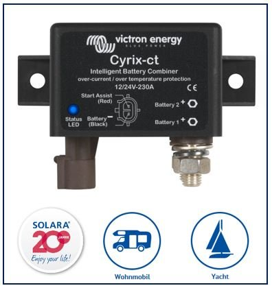 Premium Victron Cyrix-ct 12/24V-230A intelligenter Batteriekoppler, inkl. 1 m Stromkabel