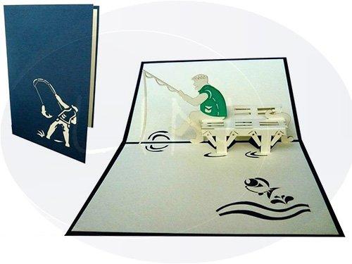 LIN-POP UP 3D Karten, Geburtstagskarten, Angler