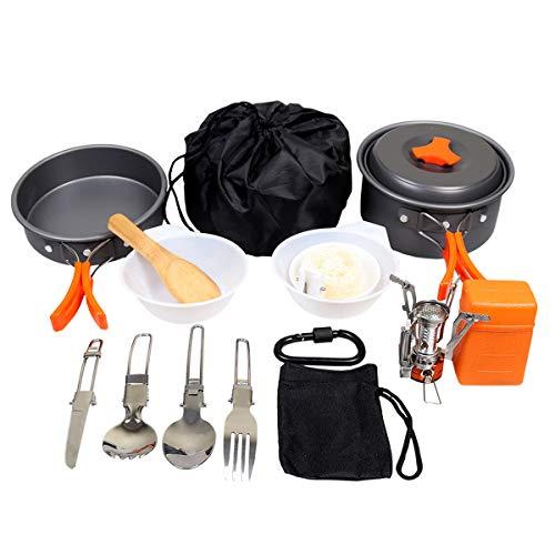 Goetland 12 PCS Ustensiles de Cuisine de Camping Set de Cuisson Antiadhésive Aluminium Anodisé Casseroles Pliantes Pique-Nique BBQ Randonnée