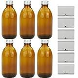 mikken - 6 Bottiglie da Farmacia, 250 ml, in Vetro, con Tappo a Vite, Colore: Marrone