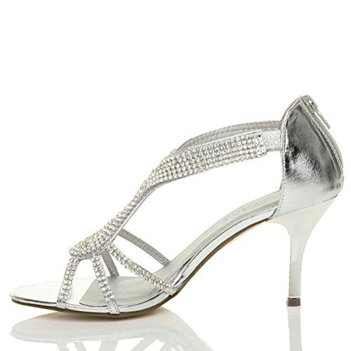 Damen Riemchen Mitte Hoher Absatz Hochzeit Abschlussball Abend Sandalen Größe Silber