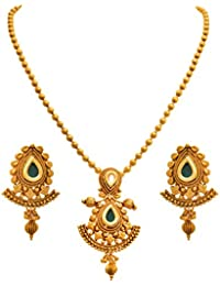 JFL - Traditional Ethnic One Gram Gold Plated Kundan Stone Designer Pendant Set With Earring For Women And Girls