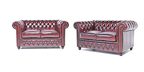 Original Chesterfield Sofas – 2 / 2 Sitzer – Vollständig Handgewaschenes Leder – Antik Rot