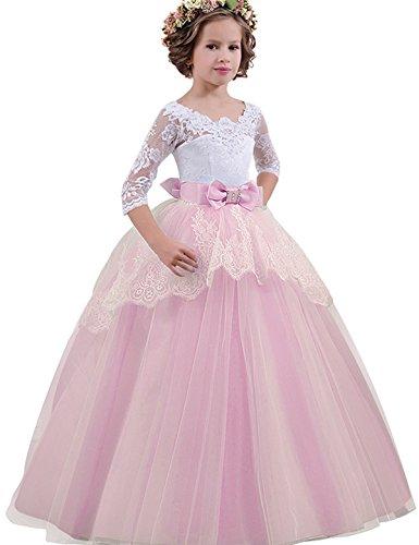 NNJXD Mädchen Festzug Stickerei Prom Kleider Prinzessin Hochzeit Kleidung Größe(170) 14-15 Jahre Rosa