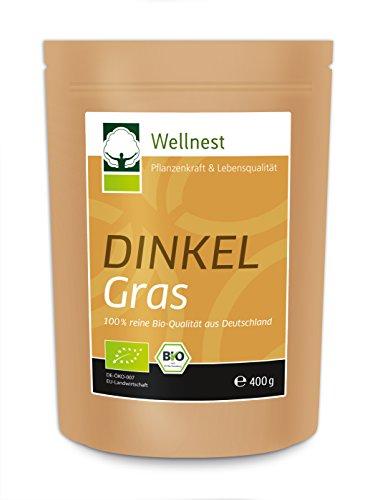 Wellnest Bio Dinkelgras Pulver 400g | Zertifizierte Bio-Qualität aus Deutschland | Für Drinks, Smoothie und Saft