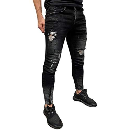 QUICKLYLY Pantalones Vaqueros Hombre Pitillo Rotos Chandals Trekking Skinny,Pantalones Pitillo Elásticos De Mezclilla Desgastados Vaqueros Slim Fit Freyed (Negro,L)