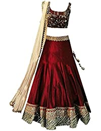 Ujas Enterprise Girl's Partywear Semi-Stiched Banglory Silk Lehenga Choli Ethnicwear (8 to 12 Years_Free Size)