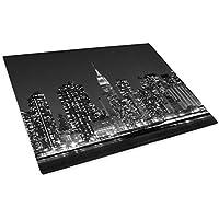 Black White New York Sky Glass Chopping Board Kitchen Worktop Saver Protector