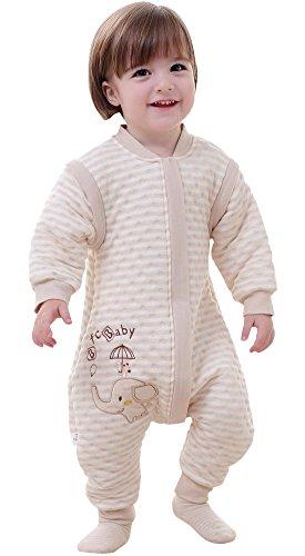 Happy cherry - sacco nanna per bambini neonati unisex con maniche lunghe staccabili - sacco a pelo in cotone invernale autunnale primaverile con piedini - elefante - beige - 66cm