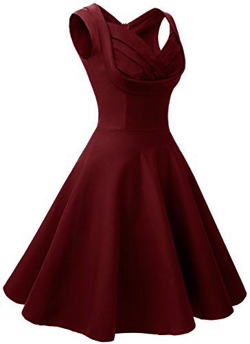 Angerella Femmes Une Ouverture De Type V-Cou Vintage Casual Retro Dress Vin Rouge