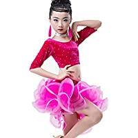Bambini Vestiti di Prestazioni di Danza Latina Brillante Diamante Diviso  Gonna da Ballo Latino Ragazza Abbigliamento fe80918e74ff