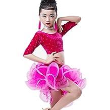 Los niños de danza latina rendimiento ropa brillante diamante dividido danza latina falda chica juego de ropa latina , 110cm , pink
