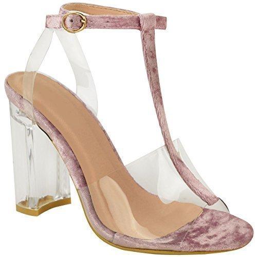 Damen High Heels Perspex Block Zu Löschen Sandalen Promi Knöchel Riemchen Größe UK - Himbeer Rosa Pannesamt, 39