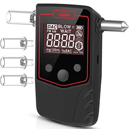 Oasser Ethylotest Electronique Homologué Alcootest Numérique Rechargeable à Batterie au Lithium Testeur d'Alcool Equipé de Marteau de Secours avec Affichage LCD 4 Embouts T6