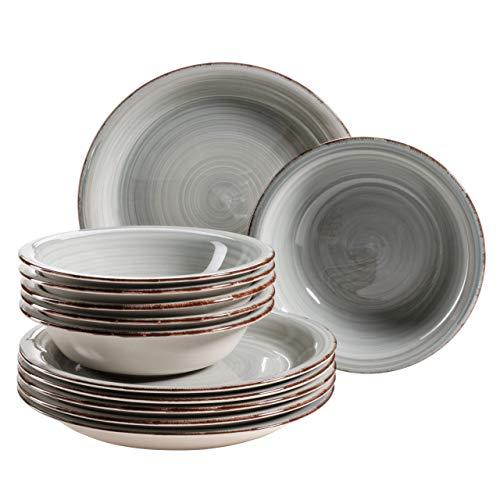 MÄSER 931493 Bel Tempo II - Juego de platos para 6 personas (pintados a mano, gres), diseño vintage, color azul