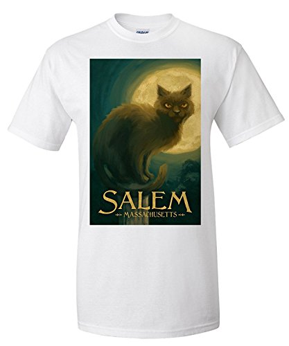 Salem, Massachusetts - Black Cat - Halloween Oil Painting (Premium T-Shirt)