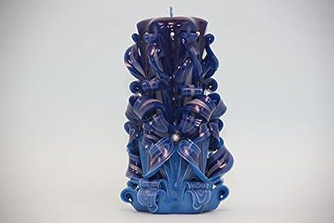 Groß, Blau und Lila - dunkle Farben - dekorativ geschnitzte Kerze - EveCandles