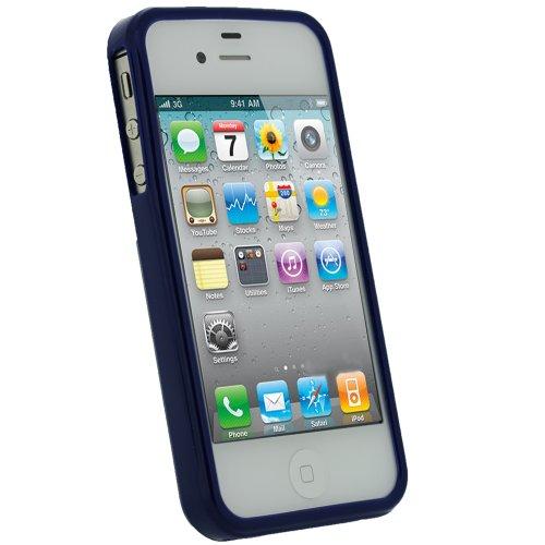 igadgitz Blu Custodia TPU Gel Case Cover Rigida Protezione per Apple iPhone 4S + Protettore Schermo