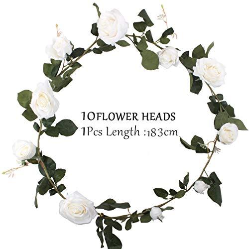 (cherrboll Künstliche Seidenrosen Efeurebe künstliche Hängepflanze Blätter Girlande für Hochzeit Party Garten Wand Valentinstag Dekoration weiß)