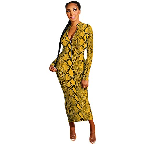 Ucoolcc Robe Longue de Bal Belle Poque Rétro Vintage Femme Robe Crayon Bodycon Longue Robes Sexy Slim O-Cou Imprimé Léopard Taille Haute Patchwork Manches Longues Robe