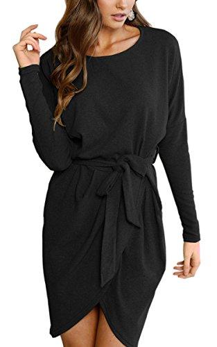 ECOWISH Damen Rundhals Kleid Beiläufiges Langarm Minikleid T-Shirt Kleid Mit Gürtel, Schwarz, EU L(38)