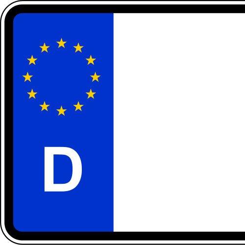 Satz Nummernschild Aufkleber (2 Stück) für vorne und hinten (Deutschland, ca. 26 x 5,5 cm) - Mit Name/Wunschtext - 2