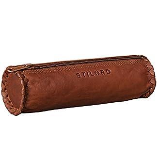 STILORD Estuche Cuero Vintage Cartuchera para bolígrafos Bolsa Escolar pequeña para Colegio, Universidad u Oficina Bolso de auténtica Piel, Color:Cognac-marrón