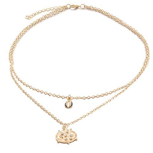 Damen Kette,Ohrringe Boho Vintage Gypsy Modeschmuck Halskette Kette Necklaces Anhänger Geschenk Schmuck Jewelry Gliederkette,Überraschungsgeschenk für Freundinnen Mütte Mädchen (Gold)