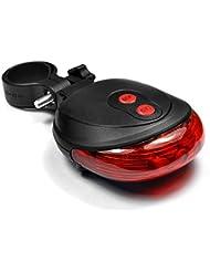 feu arrière lampe vélo arrière LED Lampe Éclairage 7modes + 2x Streife de conduite, idéal pour transport Ville sûr Rouge