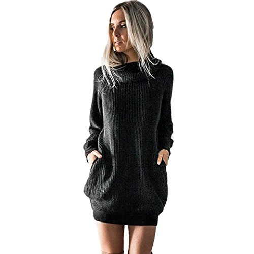 Longra Damen Strickkleid Basic Herbst Winter Strick Pullover Sweater Party Tunika Longshirt Mini Kleid Strickkleid Pullover Kurz Minikleid Outwear Sweatkleid (Black, XL)