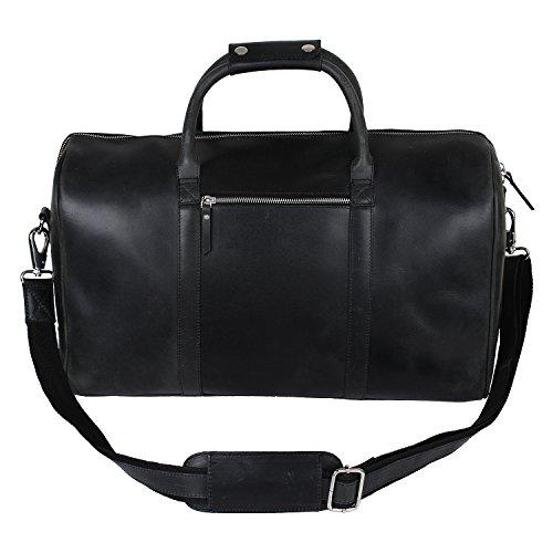 Borsone da viaggio in vera pelle vintage, gite del fine settimana, bagaglio a mano per aereo, regalo per uomo e donna da Rustic Town, Black Two Tone