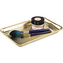 mDesign – Bandeja decorativa para cosméticos, perfumes y toallas – El organizador de maquillaje y bisutería perfecto – Elegante bandeja para baño de color dorado