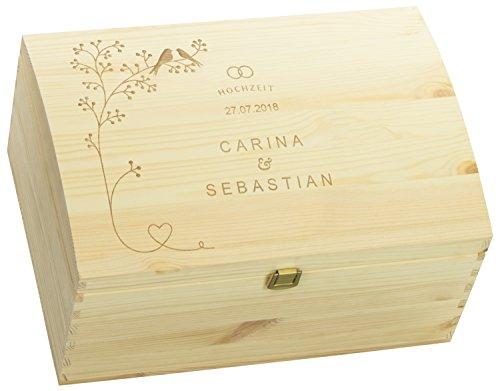 LAUBLUST Holztruhe mit Gravur - Personalisiert mit ❤️ Datum | Name ❤️ - Natur Größe L - Schnäbelnde Vögel Motiv - Geschenkkiste mit Verschluss zur Hochzeit