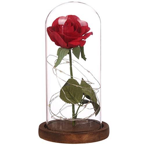 Ksell Rose im Glas Rote Seidenrose Rosenbox Flowerbox mit LED Nachtlichter für Valentinstag