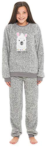 (Slumber Hut® Mops Hund Lama Fleece Pyjamas Neuheit Loungewear Twosie PJs Passende Familie - Grau Lama - 9-10 Jahre)