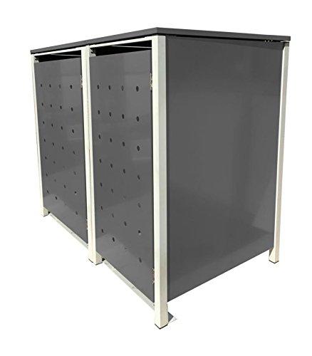 BBT@ | Hochwertige Mülltonnenbox für 2 Tonnen je 240 Liter mit Klappdeckel in Silber / Aus stabilem pulver-beschichtetem Metall / Stanzung 1 / In verschiedenen Farben sowie mit unterschiedlichen Blech-Stanzungen erhältlich / Mülltonnenverkleidung Müllboxen Müllcontainer - 2