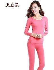XMQC*El otoño invierno ropa interior térmica, la Sra. Qiu Yi Chau, prensa para pantalones, Slim kit 1 afeitado corporal perfecta ropa interior homewear caliente negro son código , Watermelon Red , son código
