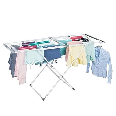 mDesign Étendoir extensible de buanderie pour faire sécher les vêtements - Blanc / Gris