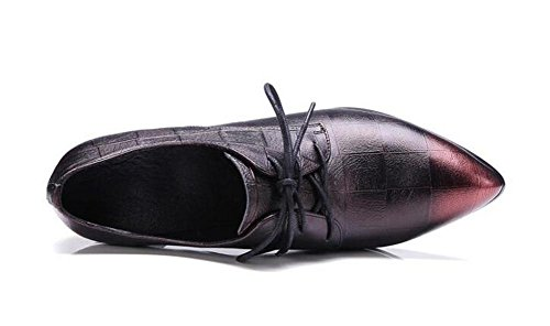 Beauqueen Oxford Chunky Ferse Lace-up Spitz-Toe Vintage Schuhe 34-39 EU Größe 34-39 red wine