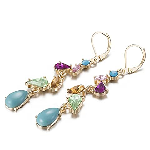 LARESDOMI Vintage Dangle Drop Pendant Earrings Gold-tone Multi-colour Simulated Gemstones and crystals Inlay Bohemian Style Art Deco Jewellery Gift For Lady Women Girls