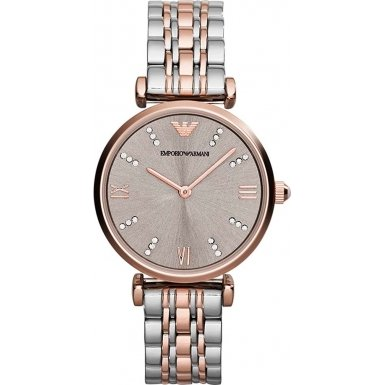 Emporio Armani Women's Quartz Watch with Rose Gold Dial Analogue Display and Rose Gold Stainless Steel Bracelet AR1840