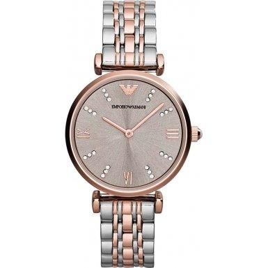 Emporio Armani da donna in oro rosa con orologio al quarzo con Display analogico e braccialetto in acciaio INOX, colore: oro rosa AR1840