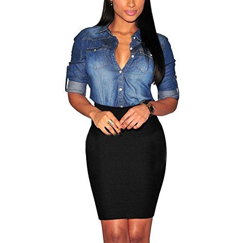 Eleery Damen Langarm moderne Shirt freizeit Bluse lässiges Revers Cowboy Jeanshemd (Dunkelblau, 38) (Von Nach Shirt Long Unten Sleeve Unten)
